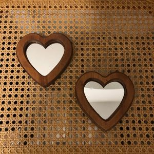 vintage | 🧡 pair of wooden heart mirrors 🧡